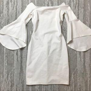 Gianni Bini White Bell Sleeve Dress Size XS